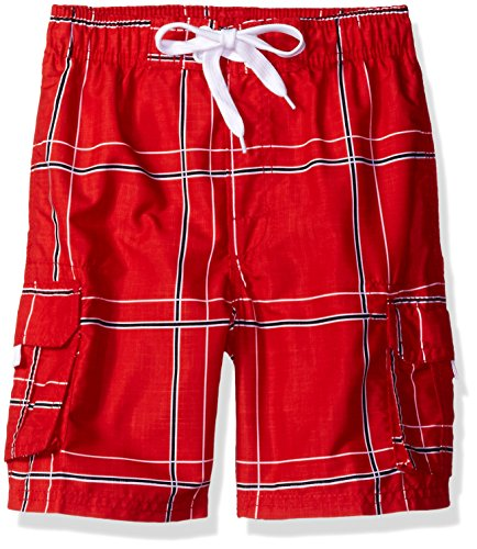 Kanu Surf Big Boys' Flex Plaid Swim Trunk, Red, Medium (10/12) ()