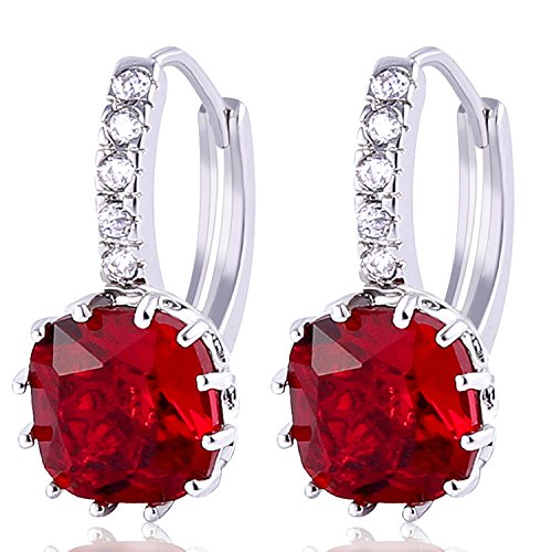 GULICX Silver Tone Fashion Jewelry Ruby Color Red Stone Huggie Hoop Earrings White Gold Electroplated