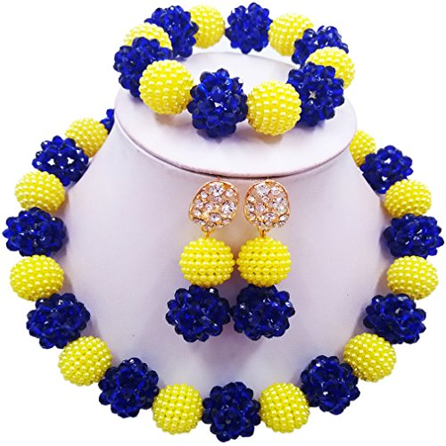 Beaded Set Yellow Jewelry (aczuv Simulated Pearl and Crystal Ball Beaded Necklace Jewelry Set African Wedding Beads (Yellow Royal Blue))