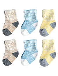 3-Pairs Assorted Cotton Ribbed Cuffs Breathable Socks with Good Elasticity for Child between 1-3 Years(Khiki/Blue/Yellow)