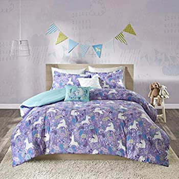 Image of 5 Piece Girls Light Purple Blue White Unicorn Dream Comforter Full Queen Set, Vibrant All Over Girly Magical Unicorns Theme Bedding, Bright Whimsical Multi Magic Creatures Themed Pattern, Cotton Home and Kitchen
