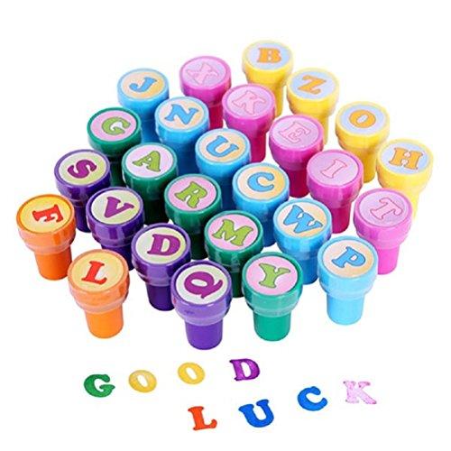 TOYMYTOY Tampons à Encre à Imprimer Thème de lettre pour la créativité et le plaisir des enfants 26pcs