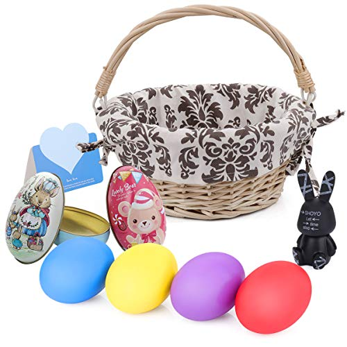HomeMall Easter Basket Egg Kit, Easter Baskets Personalized Wood Chip with Liners Wood DIY Easter Eggs Chocolate Case Rabbits Hanging Ornament Easter Toy for Kids Girls Boys