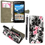 Huawei Y6 Case, Kamal Star® Premium PU Leather Magnetic Case Cover with ATM card and Note slots + Free Stylus (Pink Flower Dark Grey Book)