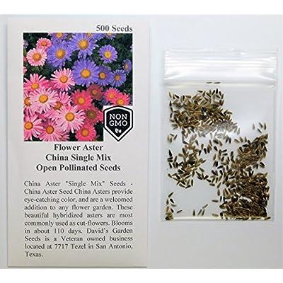 David's Garden Seeds Flower Aster China Single Mix SL9931 (Mulit) 500 Non-GMO, Open Pollinated Seeds : Garden & Outdoor