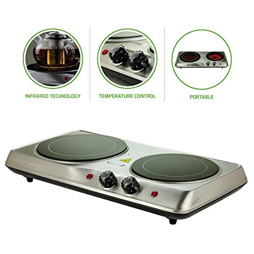 "Ovente Electric Infrared Burner, Double-Plate 7"" (1000W) + 6.5"" (700W) Ceramic Glass Cooktop, Silver (BGI102S)"