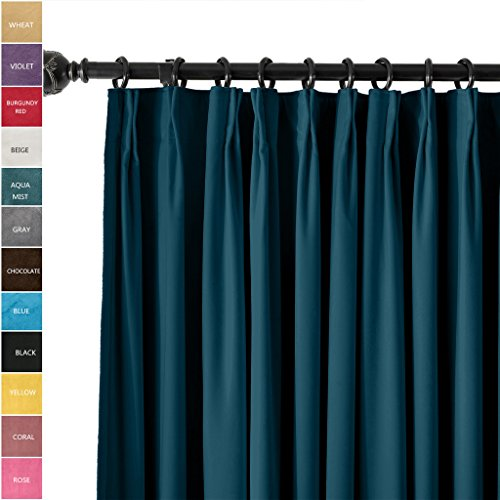 ChadMade Pinch Pleated 72W x 84L Blackout Lined Velvet Curtain Drapery Panel For Traverse Rod or Track, Living room Bedroom Meetingroom Club Theater Patio Door (1 Panel), Midnight (Blue Pleated Drapes)