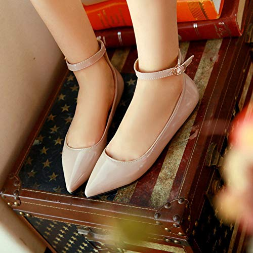 Women's apricot Fashion Pointed Loafers Ankle Ballet Colors Shoes Walking Toe Candy Strap Flats Breathable r1nwr