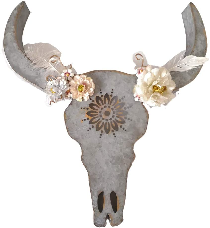 Parisloft Distressed Galvanized Metal Bull Head Skull Wall Hanging Art Southwestern Cow Steer Skull with Frabic Flowers 17.9 x 19.3 x 3.5 Inches