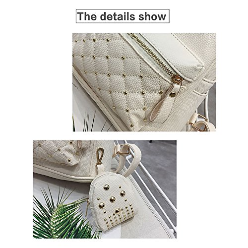 Bags Teenage Lady Women's Women's Small Leather white Backpacks Backpack School for Bag PU Retro Bag White SODIAL 8Twv1x
