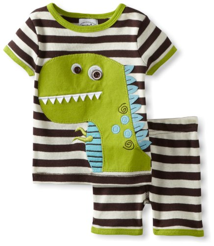 Mud Pie Baby Boys' Dinosaur Short Pajama Set, Multi, 0 6 Months