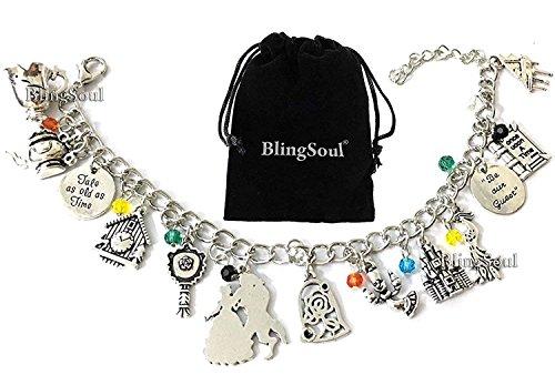 Beast Beauty Charm Bracelet - Belle Emma Watson Bracelets Costume Jewelry Merchandise For Women]()