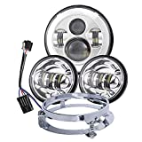 Dot Appoved Chrome Harley 7inch LED Headlight with 4.5inch Matching Chrome Passing Lamps for Harley Davidson Motorcycles with Adapter Ring and wire adapter