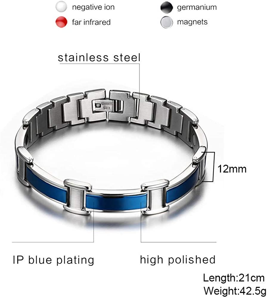 XUANPAI Adjustable Cool Two-Tone Stainless Steel Russian Orthodox Satanic Leviathan Cross Engraved Magnetic Therapy Bracelet,Religious Gift
