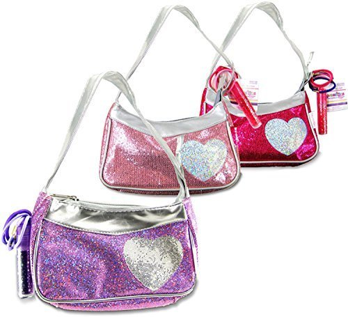 Expressions Girl / Heart Handbag with Accessories, 1 Assorted Pink, Fuschia, or Purple