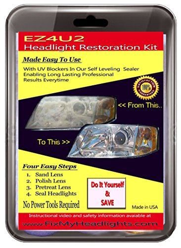 Ez4u2 Headlight Restoration Kit with UV blocker Sealer - The Best Headlight Restoration Kit in the market - Restore your Foggy Headlights like New 3 easy steps - #1 Headlight Restoration Kit used by Professional Headlight Restoration Services - Restores Yellow Headlights in less than 30 minutes - backed by a 100% SATISFACTION GUARANTEE!