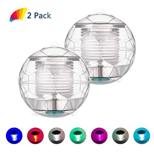 Eletorot Solar Pool lights Floating light Pond Lights Football Floating Night Light Waterproof PC Ball Solar Powered Color Changing For Baths Tub Swimming Pool Party Decor (2 Pack) by Eletorot