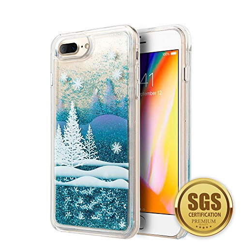 3D Winter Sparkle Glitter Waterfall Phone Case for Apple iPhone 7 Plus / 8 Plus - Interactive Water Liquid Cascade Floating Snow Globe Dynamic Transparent Smartphone Cover w/Snowflakes & Trees