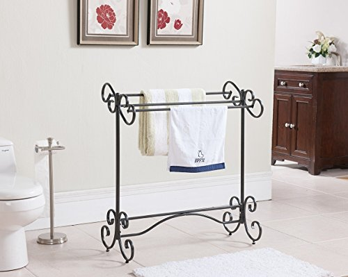 Kings Brand Pewter Finish Free Standing Quilt Towel Rack ...