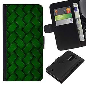 Planetar® Modelo colorido cuero carpeta tirón caso cubierta piel Holster Funda protección Para LG G3 ( Diseño de bordado verde Wallpaper aleatoria )