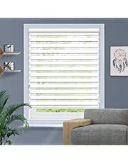 Window Blinds Custom Cut to Size, Zebra Blinds with Dual Layer Roller Shades, Dual Layer Sheer or Privacy Light Control for Day and Night