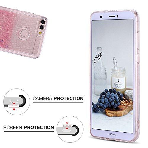 Funda Huawei P Smart, Caselover 3D Bling Silicona TPU Arena Movediza Carcasa para Huawei P Smart Glitter Líquido Brillar Lentejuelas Suave Transparente Cristal Protección Caso Anti Arañazos Tapa Choqu Rosado