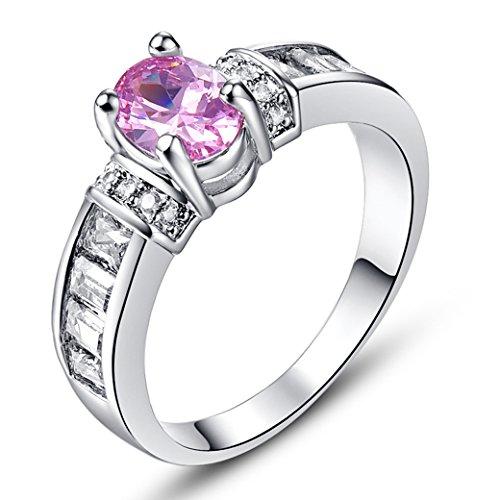 PAKULA Women's Elegant Simple 5mmx7mm Oval Cut Pink Topaz CZ Engagement Ring Band ()
