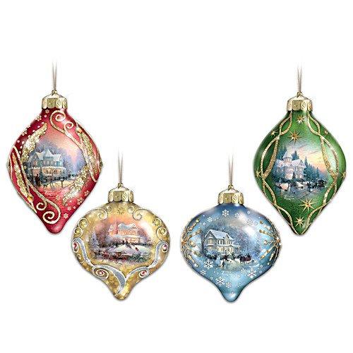 (Thomas Kinkade Light Up the Season Illuminated Glass Ornaments: Set of 4 by The Bradford Exchange )