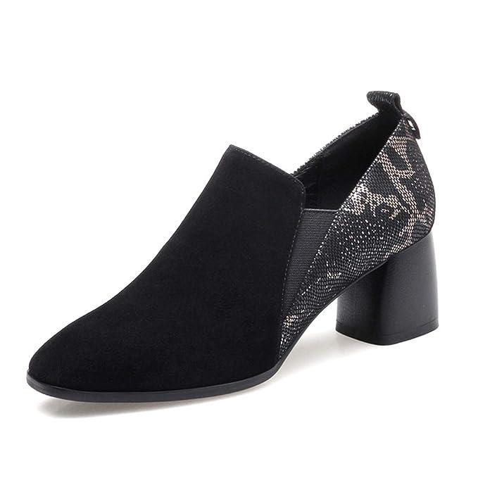 7965f99f Zapatos De Otoño New Square Head Para Mujer, Tacón Grueso Con Boca  Profunda, Cremallera