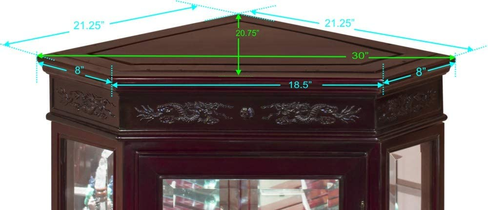 Dark Cherry Hand Carved 20in Dragon Motif Rosewood Corner Cabinet