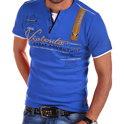 iLXHD Mens Challenge T-Shirt Letter Button Polo Shirt Personality Shirt Short Sleeve Blouse Tops Blue