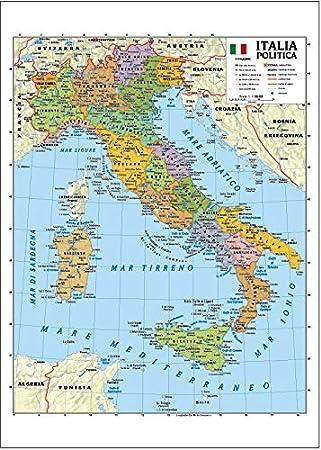 Cartina Italia Politica Hd.Carta Geografica Murale Italia 100x140 Bifacciale Fisica E Politica Amazon It Cancelleria E Prodotti Per Ufficio