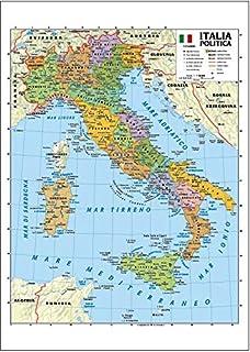 Cartina Geografica Fiumi Italia.Carta Geografica Murale Fisica E Politica Italia Belletti
