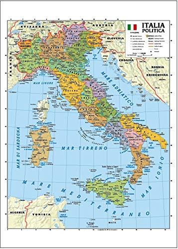 Cartina Geografica Dell Italia Fisica E Politica.Carta Geografica Murale Italia 100x140 Bifacciale Fisica E