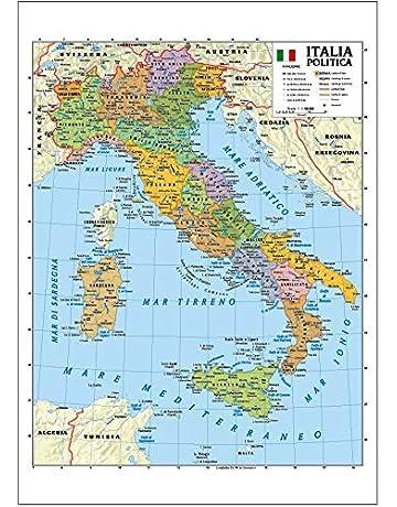 Italia Cartina Regione.Mappe E Cartine Cancelleria E Prodotti Per Ufficio Amazon It