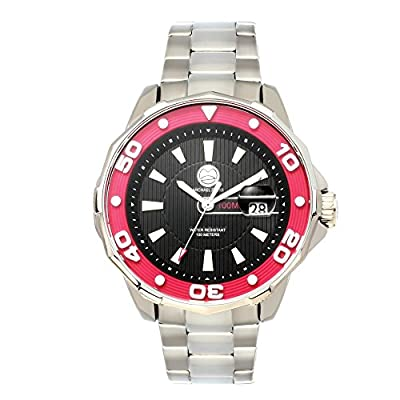 "Michael Zweig ""100M"" Mens Rugged Sport Watch, Stainless Steel Band With Rotating Bezel"