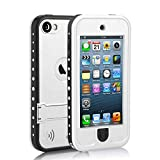 Waterproof Case for iPod 5 iPod 6, Merit Waterproof Shockproof Dirtproof Snowproof Case Cover with Kickstand for Apple iPod Touch 5th/6th Generation for Swimming Diving Surfing (White)