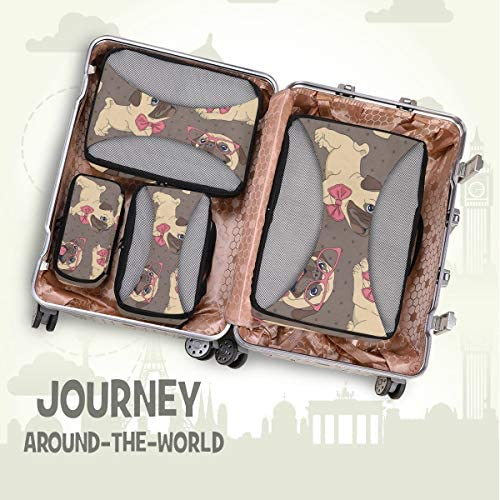 犬の子犬荷物パッキングキューブオーガナイザートイレタリーランドリーストレージバッグポーチパックキューブ4さまざまなサイズセットトラベルキッズレディース