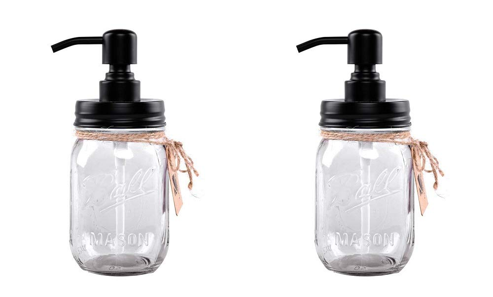 Liyoung Mason Jar Soap Dispenser,Glass Jar Lotion Dispenser,Made of Rust Proof 304 Stainless Steel (Transparent, 2)
