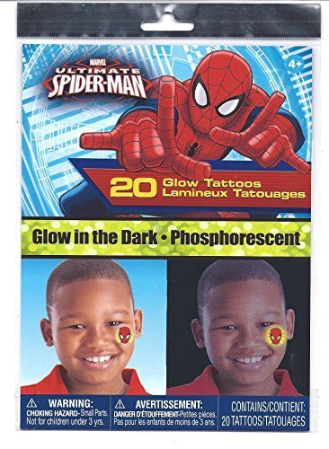 Spider-Man Glow in the Dark 20 Temporary Tattoos