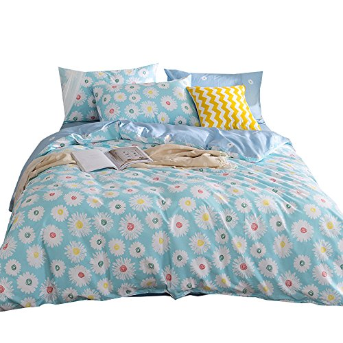 - ORoa 3 Piece Girls Cotton Floral Duvet Cover Queen Sets and Pillow Shams Teen Bedding Sets Full Size for Kids Adults Woman Cartoon Flower Chrysanthemum Print Reversible Hypoallergenic