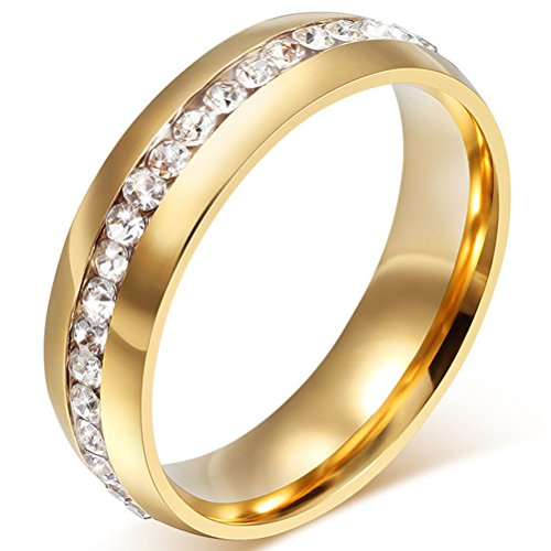 Fashion Month Mens Womens 6mm Titanium Stainless Steel 18k Gold Wedding Ring Channel Set Cubic Zirconia Engagement Band Size ()