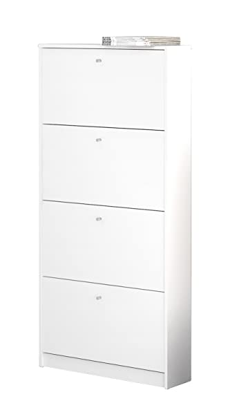Superieur Tvilum 4106849 Bright 4 Drawer Shoe Cabinet, White