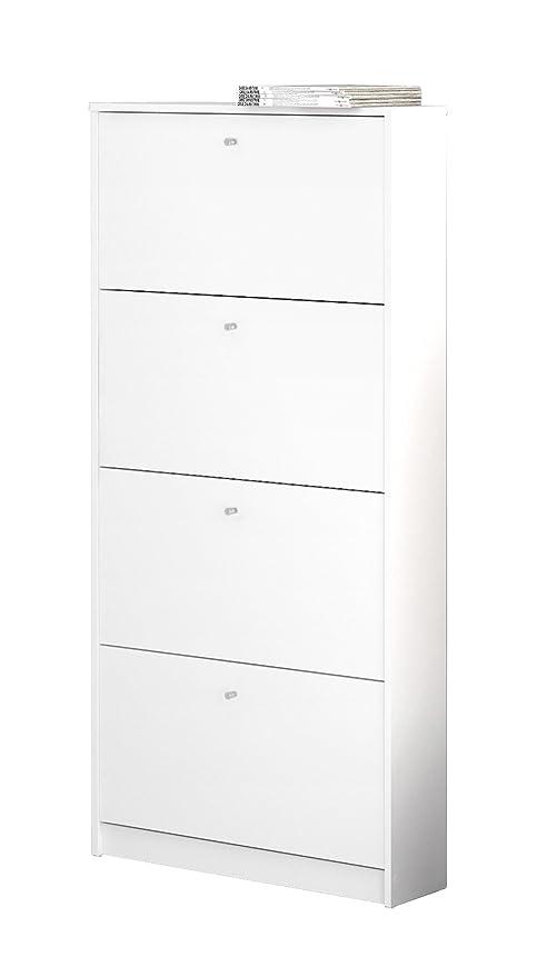 Superbe Tvilum 4106849 Bright 4 Drawer Shoe Cabinet, White