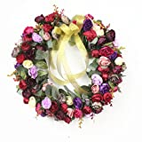 Rose Wreath Silk Flower Head Floral Home Wall Decor Wedding Decoration (style wind red)