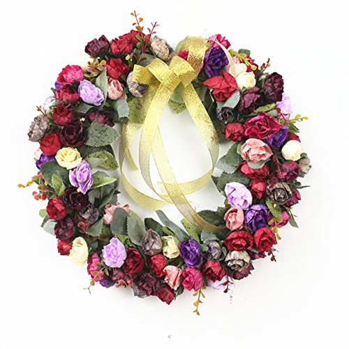- Rose Wreath Silk Flower Head Floral Home Wall Decor Wedding Decoration (style wind red)