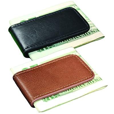 Leather Magnetic Money Clip Black Brown Tan Multiple Colors Set of 2