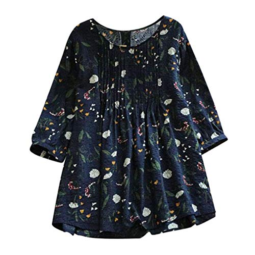 Price comparison product image Plus Size Tops, Toimoth Women Fashion Print Loose Pleated 3 / 4 Sleeve O-Neck Vintage Blouses Tops T-Shirt (Dark Blue, XL)