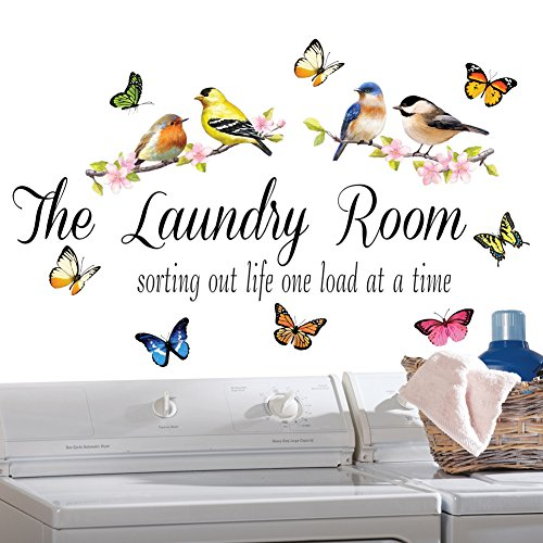 Springtime Laundry Room Décor Removable Wall Decals (Decals 5 Birds Inch Wall)