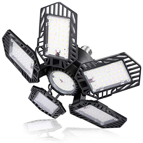 POLARPRA 150W LED Garage Light - 15000LM Beyond Bright Garage Light - 6500K Daylight Basement LED Ceiling Light Fixtures, Workshop Light with Pentagonal Deformable LED Panel, E26/E27 Screw Socket